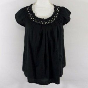Lush Black Swing Top Lattic Round Neck Blouse - S